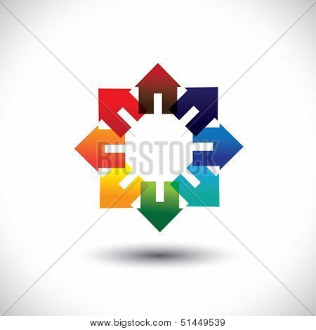Concept Vector Of Construction Industry -  Circle Of Colorful Homes