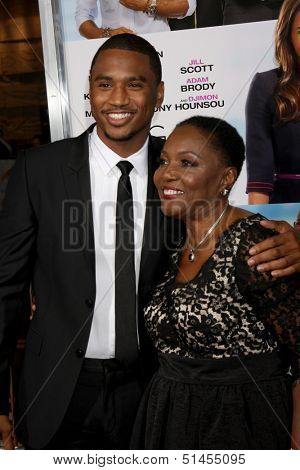 """LOS ANGELES - SEP 25:  Trey Songz, grandma at the """"Baggage Clain"""" Premiere at Regal 14 Theaters on September 25, 2013 in Los Angeles, CA"""