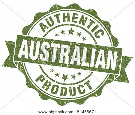 Australian Product Grunge Green Stamp