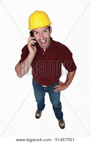 Zealous man on the phone