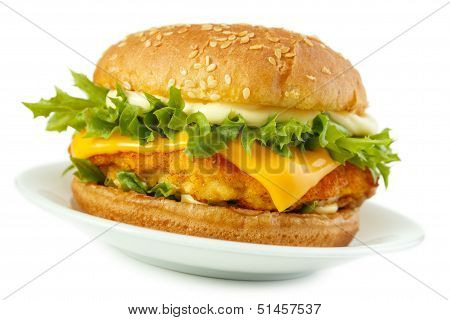 Fish burger on dish