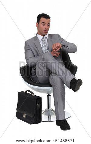 Businessman running late