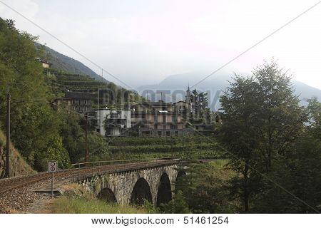 Beautiful Picture Of Nature Of Ticino Region In Switzerland With Bridge And Vine