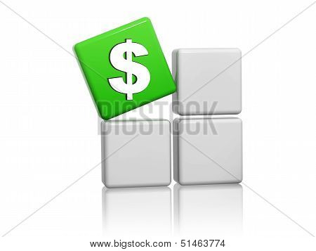 Dollar Sign In Green Cube On Grey Boxes