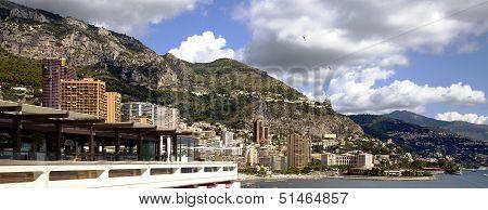 Monaco coastline with beaches and luxury hotels