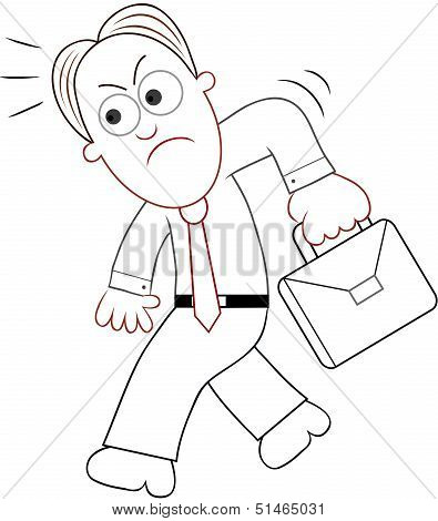 Cartoon Businessman Angry And Walking.