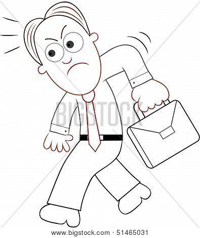 Cartoon Businessman Angry And Walking.