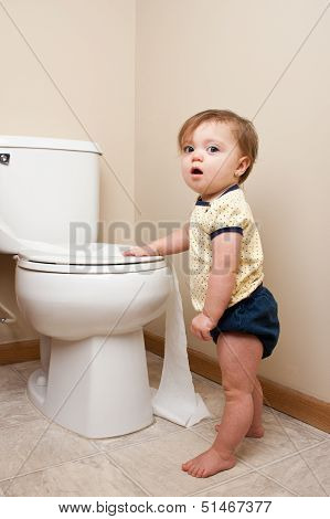 Baby caught getting into toilet paper