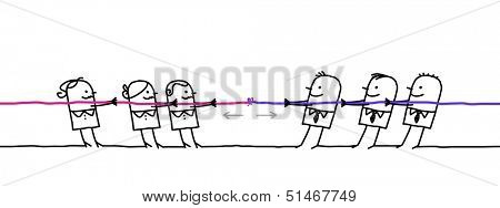 women team fighting with men team