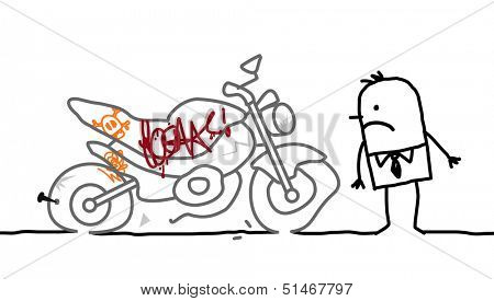 motorcycle vandalized