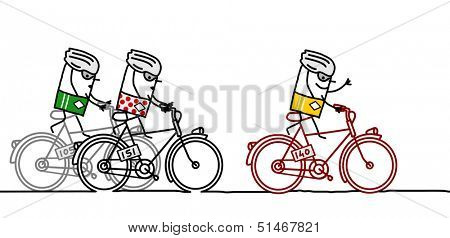3 racing cyclists