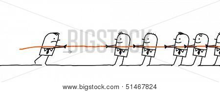 single man fighting against a group