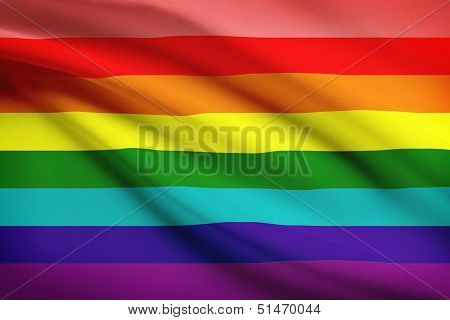 Series Of Ruffled Flags. Flag Of The Lgbt Community.