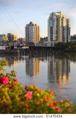 Fraser River, New Westminster Skyline, BC vertical