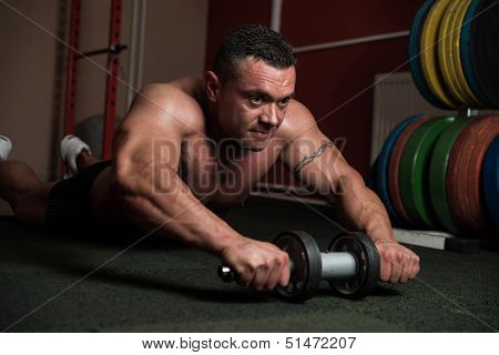 Bodybuilder Doing Abs Exercise