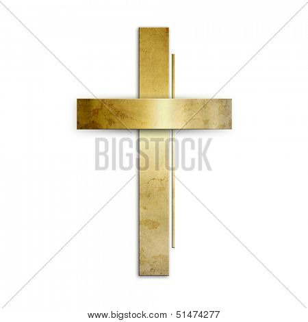 Golden christian cross against white background