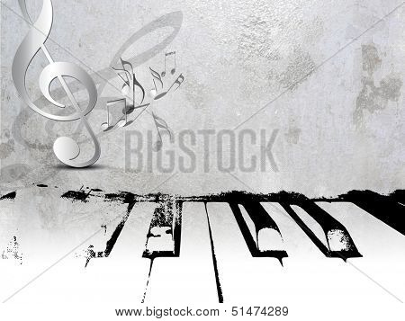 Grunge music background - piano sheet music