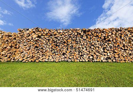 Pile Of Chopped Firewood On Blue Sky