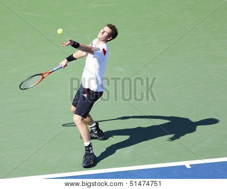 Professional tennis player Andy Murray during  quarterfinal match at US Open 2013