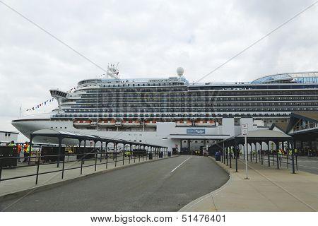 Emerald Princess Cruise Ship docked at Brooklyn Cruise Terminal