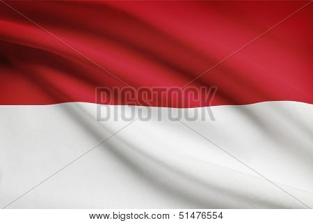 Series Of Ruffled Flags. Unitary Presidential Constitutional Republic Of Indonesia.