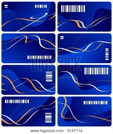 Collection From Eight Dark Blue Business Cards With White Bar Code