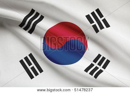 Series Of Ruffled Flags. Republic Of Korea.