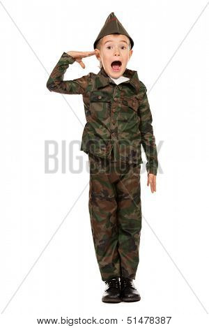 Portrait of a boy dressed like a soldier. Different occupations. Isolated over white.