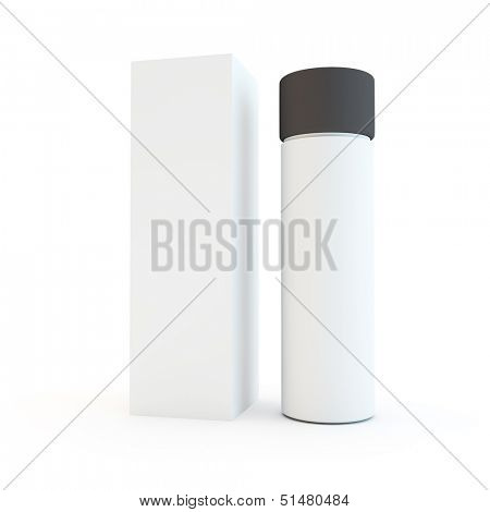 make up or other simple packaging on a white background
