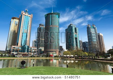 City Park And Modern Buildings