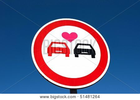 No overtaking, two cars with love hearts