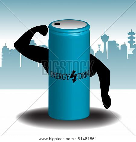 Blue energy drink can