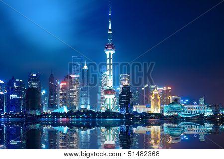 Noite Shanghai Skyline