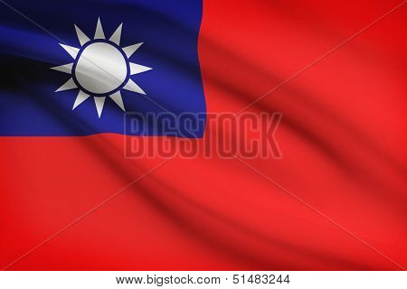 Series Of Ruffled Flags. Republic Of China.