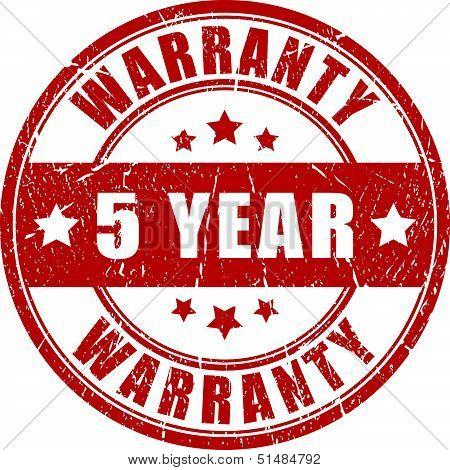 Five year warranty stamp