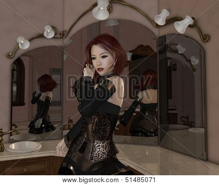 Goth Girl - Mirror Reflections