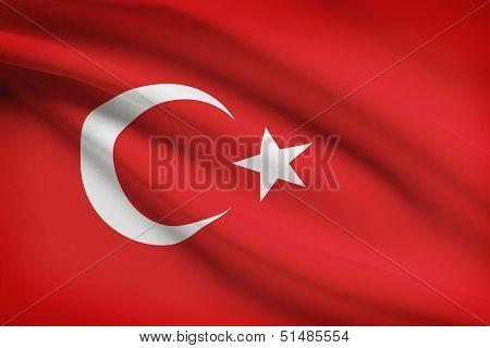 Series Of Ruffled Flags. Republic Of Turkey.