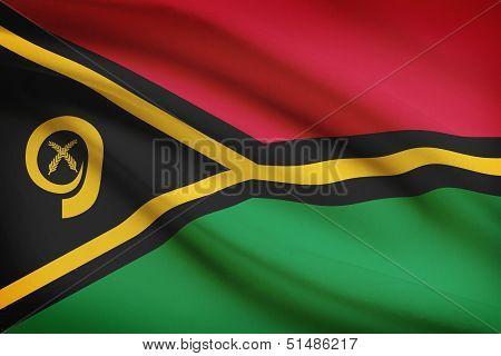 Series Of Ruffled Flags. Republic Of Vanuatu.