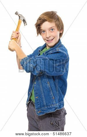 Lunatic Teenage Boy Holding A Hammer Ready To Hit, Isolated On White