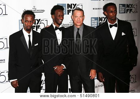 NEW YORK-SEP 27: (l-r) Barkhad Abdi, Mahat M. Ali, Tom Hanks & Faysal Ahmed attend the New York Film Festival premiere of
