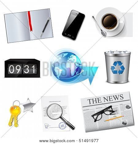 Business and office icons set. Detailed vector illustration.