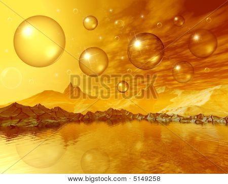 Mountains And Sunny Bubbles