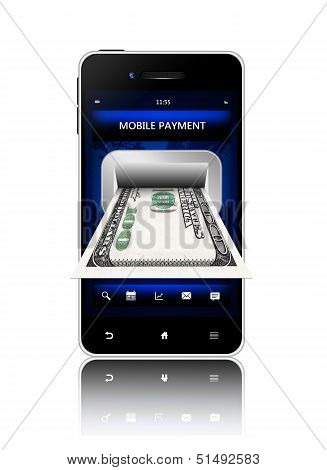 Dollar Banknote With Mobile Phone Isolated On White