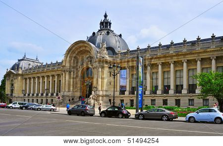 PARIS, FRANCE - MAY 17: Facade of the Petit Palais on May 17, 2013 in Paris, France. The Petit Palais is nowadays seat of the City of Paris Fine Art Museum, one of the 14 City of Paris Museums