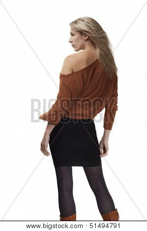 Beautiful blonde woman posing on white background