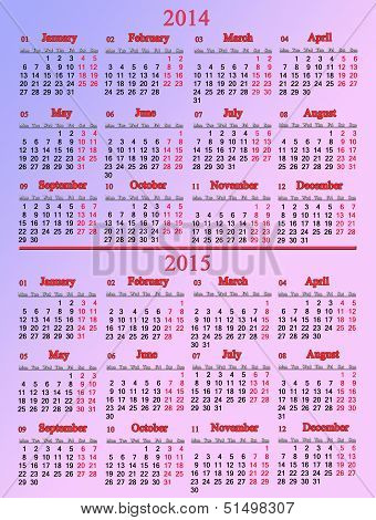 office pale rose calendar for 2014 - 2015 years