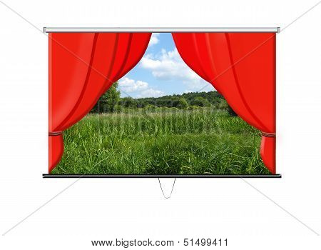 beautiful white screen with red curtains and summer landscape