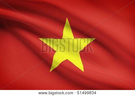Series Of Ruffled Flags. Socialist Republic Of Vietnam.