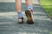 Woman Walking In The Park, Sport Shoe Closeup