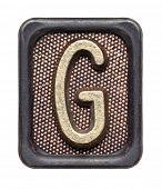Metal button alphabet letter G